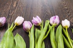 Ramalhete das tulipas em um fundo de madeira Imagem de Stock