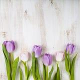 Ramalhete das tulipas em um fundo de madeira Imagem de Stock Royalty Free