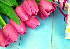 Ramalhete das tulipas na tabela de madeira azul com caixa de presente Dia feliz do ` s das mulheres 8 de março , Dia do ` s da mã Imagem de Stock Royalty Free