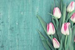 Ramalhete das tulipas no fundo de madeira rústico de turquesa com bobina Imagens de Stock Royalty Free