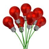 Ramalhete de ampolas vermelhas em fios verdes ilustração royalty free