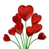 Ramalhete de corações brilhantes vermelhos ilustração stock