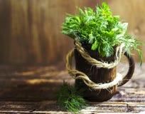 Ramalhete de ervas perfumadas da erva-doce e da salsa, em um fundo de madeira Imagem de Stock Royalty Free