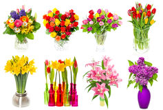 Ramalhete de flores coloridas tulipas, rosas, lilás, narciso, li Foto de Stock Royalty Free