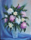 Ramalhete de flores vermelhas e brancas em um vaso, ainda vida ilustração stock