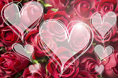 Ramalhete de Rosa um amor você mensagem em corações da luz do coração carda o copyspace do textspace do Valentim imagens de stock