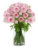 Ramalhete de rosas cor-de-rosa no vaso de vidro isolado no branco Imagem de Stock