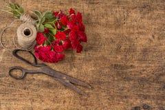 Ramalhete de rosas vermelhas, bola da guita e Rusty Scissors idoso Fotos de Stock Royalty Free