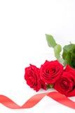 Ramalhete de rosas vermelhas com beira da fita Foto de Stock Royalty Free