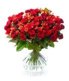 Ramalhete de rosas vermelhas no vaso de vidro Imagem de Stock Royalty Free