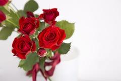 Ramalhete de rosas vermelhas no vaso no fundo branco Imagem de Stock