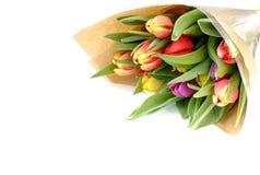 Ramalhete de tulipas do arco-íris no papel de Brown fotografia de stock