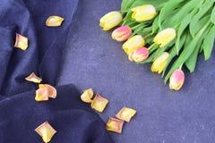 Ramalhete de tulipas rosados e amarelas em um fundo abstrato preto, com pétalas secas Espaço para o texto Conceito romance Imagens de Stock