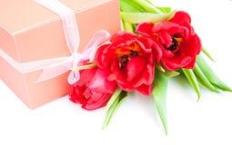 Ramalhete das tulipas, caixa de presente em um fundo branco foto de stock