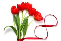 Ramalhete de tulipas vermelhas com fita do cetim Foto de Stock