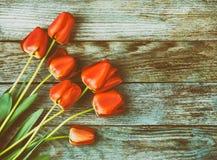 Ramalhete de tulipas vermelhas na luz - fundo retro de madeira azul do grunge com espaço da cópia Imagens de Stock Royalty Free