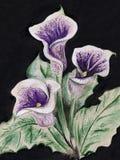 Ramalhete do calla da flor da aquarela no fundo preto Foto de Stock Royalty Free