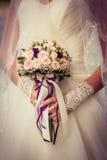 Ramalhete do casamento com rosas pequenas Foto de Stock Royalty Free
