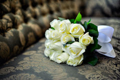 Ramalhete do casamento das rosas brancas Fotografia de Stock Royalty Free