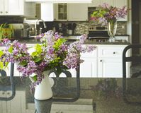 Ramalhete do lilás na mesa de cozinha, interior da cozinha borrado para trás Fotografia de Stock Royalty Free