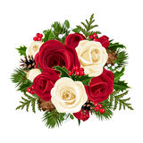 Ramalhete do Natal com rosas. ilustração do vetor