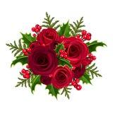 Ramalhete do Natal com rosas e azevinho. Foto de Stock Royalty Free