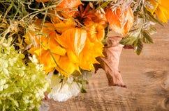Ramalhete do outono Flores e groselha de cabo secadas em de madeira Fotografia de Stock