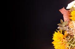 Ramalhete do outono Flores e groselha de cabo secadas no preto Foto de Stock Royalty Free