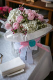 Ramalhete do vintage da flor cor-de-rosa - decoração do casamento, fundo para o amor e o dia e o aniversário de Valentim Foto de Stock Royalty Free