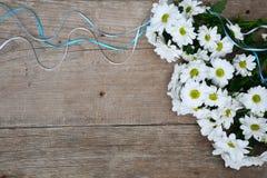 Ramalhete dos crisântemos brancos com as fitas na madeira Imagem de Stock Royalty Free