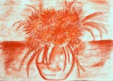 Ramalhete dos crisântemos em um vaso na tabela ilustração stock