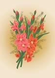 Ramalhete dos tipos de flor cor-de-rosa e vermelhos Imagens de Stock Royalty Free