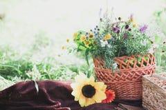 Ramalhete dos Wildflowers no vaso de vidro no fundo de madeira Fotos de Stock