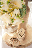 Ramalhete e anéis do casamento Fotos de Stock