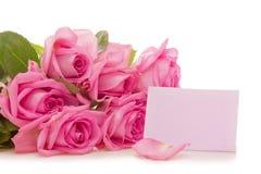 Ramalhete e cartão das rosas Fotos de Stock Royalty Free