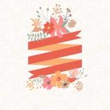 Ramalhete floral com a listra para o texto Fotografia de Stock