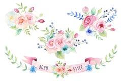 Ramalhete floral do vintage da aquarela Flores e folha da mola de Boho Foto de Stock Royalty Free