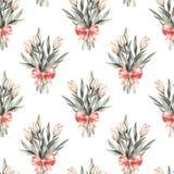 Ramalhete Flores e curva Teste padrão floral sem emenda 2 Fotos de Stock Royalty Free