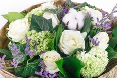 ramalhete isolado das rosas, das hortênsias e do algodão Imagem de Stock Royalty Free