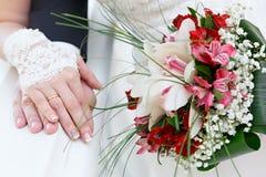 ramalhete nupcial bonito em um banquete de casamento Fotos de Stock