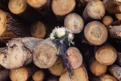 Ramalhete nupcial do casamento nos logs Fotografia de Stock