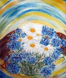 Ramalhete pintado das flores brancas e azuis no jardim ilustração stock