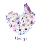 Ramalhete piony floral do coração da rosa do vintage da aquarela Mola de Boho Imagem de Stock Royalty Free