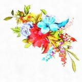 Ramalhete selvagem de Rose With Leaves Vintage Flowers da aquarela das rosas e da peônia Lily Of The Valley Dog Rosa Fotografia de Stock