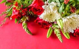 Ramalhete vermelho, branco, e roxo da flor Fotografia de Stock