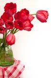 Ramalhete vermelho da tulipa no fundo branco com espaço da cópia Fotos de Stock Royalty Free