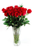 Ramalhete vermelho das rosas no vaso Imagens de Stock Royalty Free