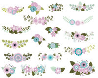 Ramalhetes da flor na hortelã e nas cores violetas ilustração royalty free