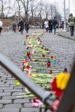 Ramalhetes das flores e das velas Foto de Stock