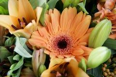 Ramalhetes de florescência da flor na tabela de madeira do vintage imagem de stock royalty free